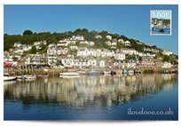 Blue sky over Looe Harbour postcard