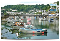Boats on Looe River postcard
