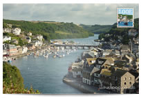 Looe River and bridge postcard