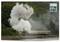 Steam train in Looe postcard