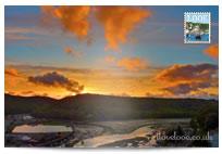 Sunset over Looe postcard