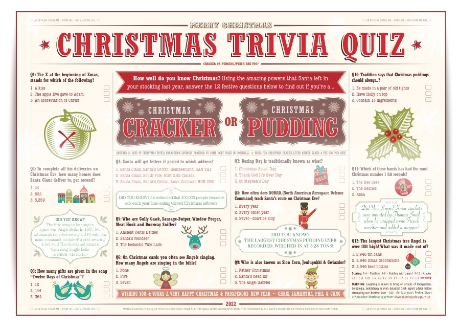 Christmas Trivia Quiz 2012