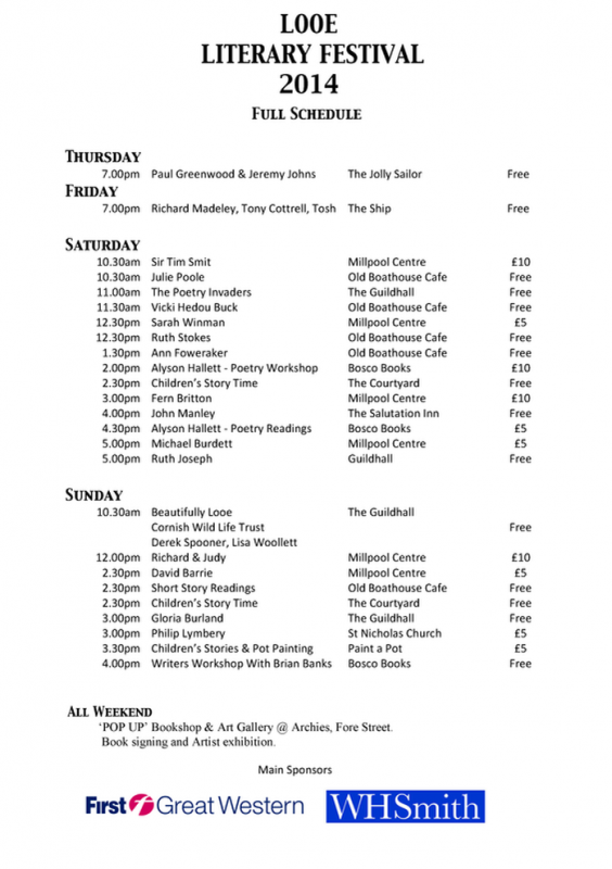 Looe Literary Festival 2014 Events Planner