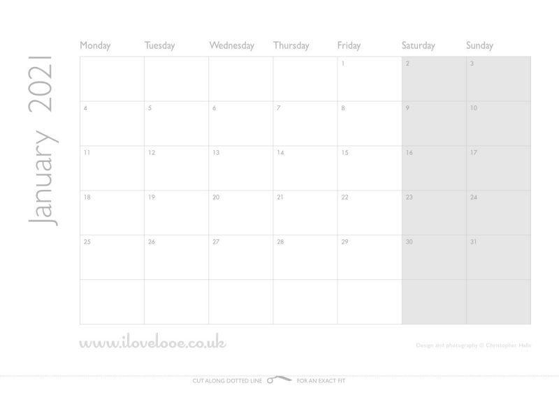 iLoveLooe Calendar 2021 Dates Only